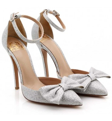 ''Little Lady''Silver Glitter Heel With Bow