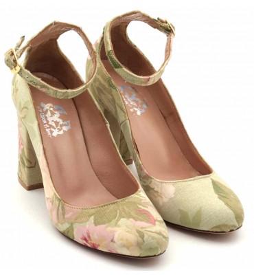 """Vague"" Green Floral Heel"