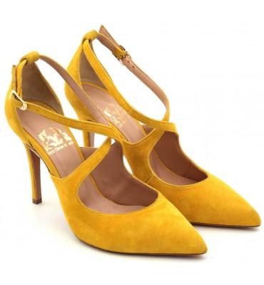 ''Brigitte'' Mustard Suede Heel